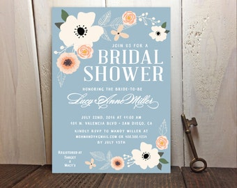 Something Blue Spring Flowers Bridal Shower Invitations - Anemone Rose Peach Floral - FREE CUSTOM COLORS - Printed Invites with Envelopes