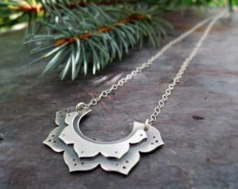 Layered Lotus Flower Pendant // sterling silver flower // modern zen jewelry // yoga inspired metal smith pendant (4200)