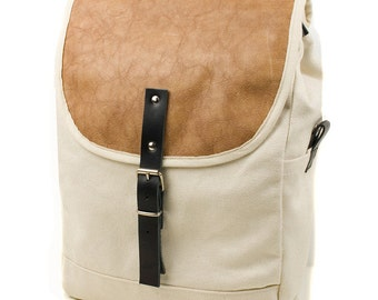 White Distressed Camel NoMad Backpack - Men's Leather and Canvas Backpack - Exclusive Men's Accessories