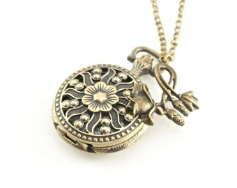 Floral Timepiece Pendant, Antique Brass Watch Pendant Necklace, Working Clock Necklace, Mother's Day Gift