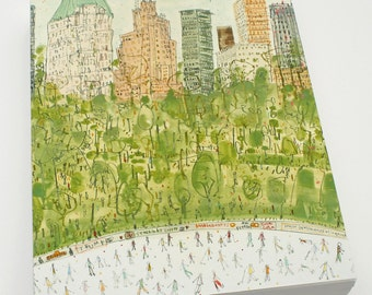CENTRAL PARK Art New York Skating, Essex House Watercolor Painting, New York Canvas, NYC City Print, Clare Caulfield, Ice Skater Art