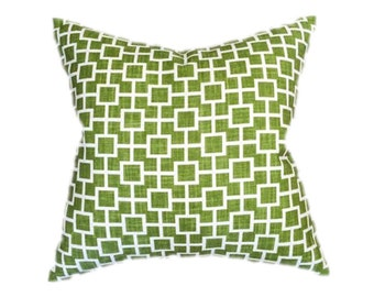 "Chartreuse Green and White Geometric Squares Designer Pillow Cover- Holds 22"" Insert"