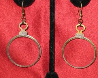 Optical Lens Earrings, Vintage Optical Lens Earrings for Pierced Ears, OOAK Hoop Earrings Handmade by Lenore Salazar, Antique Optical Lenses