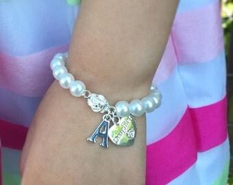 Flower Girl Gift - Charm Bracelet for Girls Initial Bracelet - Little Girls Bracelet - Kids Jewelry Personalized Pearl Flower Girl Bracelet