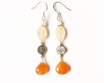 Carnelian Teardrop and Silver Coin Charm Earrings //charm earings //silver earings //carnelian jewellery //silver jewelry //gifts for her