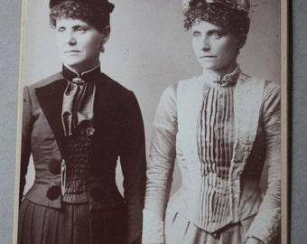 Victorian Era Cabinet Card of Mother and Daughter by C.R. Selee of Emerson Place in Melrose, Massachusetts
