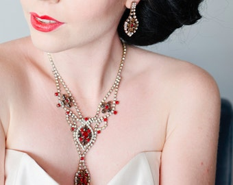 SALE - Red, Smoke and Clear Czech Rhinestone Necklace & Earring Set