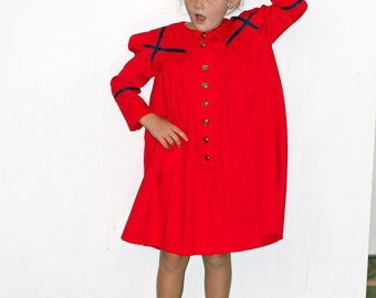 Vintage Girls Red and Navy Long Sleeve Sailor Nautical Dress 6X