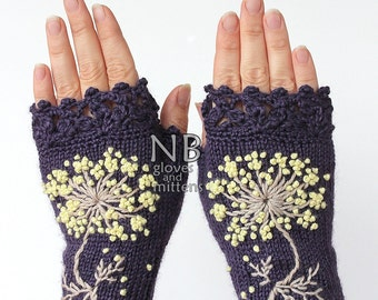Knitted Fingerless Gloves, Flower, Gloves & Mittens, Gift Ideas, For Her, Winter Accessories