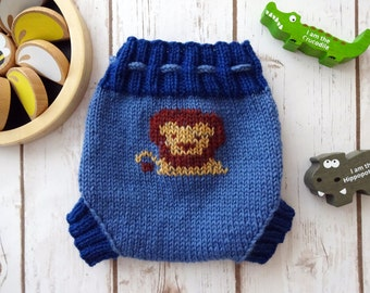 SMALL Little Lion Wool Cloth Diaper Cover, Hand Knit Cloth Diaper Cover, Cloth Diapering, Baby Boy, Blue, Soaker, Wooly, Shorty, Wool