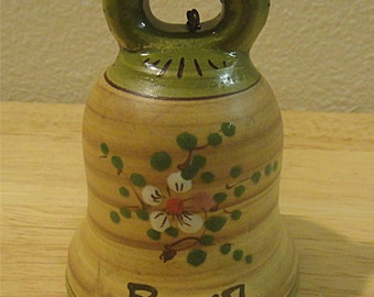 Vintage Hand-Painted ROMA Ceramic Souvenir Bell Made by FIMA in Deruta Italy (1225)
