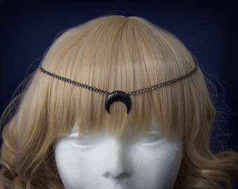 Crescent black moon circlet- Inspired in Sailor Moon Black Lady