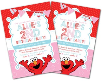 Elmo Invitation, Girl Elmo Invite, Aqua and Pink, Elmo Birthday, Sesame Street Invitation, Sesame Street Invite, Elmo Birthday Party (E8)