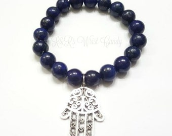 Lapis Gemstone Beaded Bracelet, Hamsa Bracelet, Protection, Yoga Bracelet, Zen, Handmade, Custom Beaded Jewelry