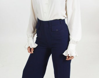 Navy High Waisted Bell Bottom Dress Pants Women's Faux Wool Soft Wide Leg Sailor Pants 28