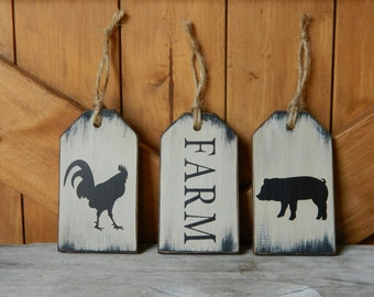 Rustic Farm Tags, Primitive Decor, Farm Decor