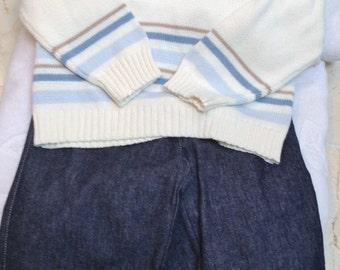 Baby Boys Infant Toddler Cream Beige Blue 2 Piece Set Sweater Pants -  Handmade Teddy Bear - One Sizes:  18 months