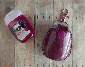 Pocket Hand Sanitizer Holder, Glitter Vinyl in 24 Colors with Coordinating Snap, Great for Backpacks, Bags and Purses, Hand Cut, Made in USA