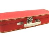 Small Red Children Suitcase Old Suitcase Rectangular Suitcase Shabby French Decor