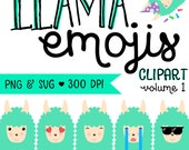 LLAMA EMOJI Clip Art - png and svg 300 dpi - Clip Art Graphics Personal Small Commercial Use - Llama Graphics