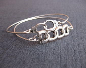Handcuffs and Chain Bangle Bracelet, Submissive jewelry, Dominant jewelry, BDSM jewelry, BDSM Bracelet, Submissive Bracelets, Silver Bangles