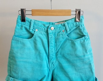 Vintage high-waisted jean cut-off shorts, turquoise, size XS/S