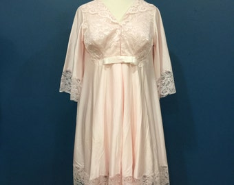 Vintage 1970s Jc Penny Sheer Robe And Nightgown Set Pale Aqua