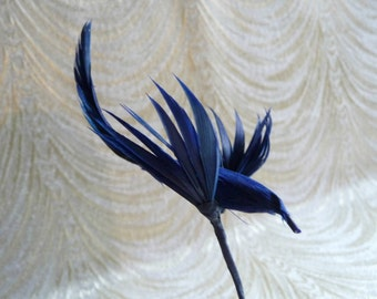 Vintage Bird Millinery Decoration Blue Feathers for Hats Fascinators Crafts Hair Clips