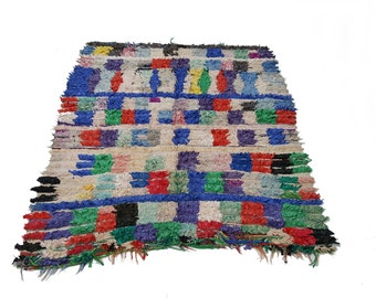 "67""X59"" Vintage Moroccan rug woven by hand from scraps of fabric / boucherouite / boucherouette"