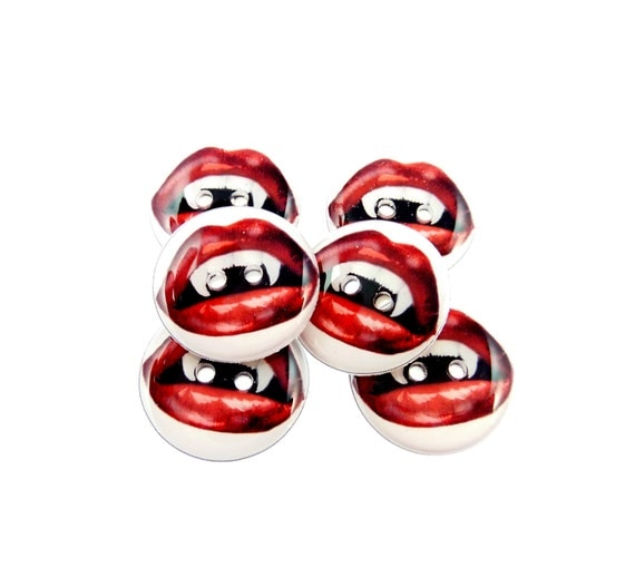 """6 Vampire Teeth Sewing Buttons.  Handmade Buttons 3/4"""" or 20 mm. Handmade by Me.  Washer and Dryer Safe."""