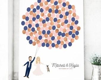 Wedding Portrait Guest Book Alternative with Custom Couple Illustration, Canvas Guest Book