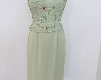 1950s Ice Green Dress with Beaded & Sequined Bodice and Abbreviated Peplum