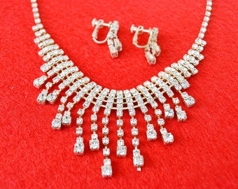 necklace and earrings rhinestone