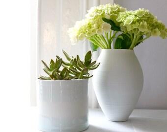 Planter #21, Handmade, Porcelain, Wheel Thrown, 3.5''H x 4'' D
