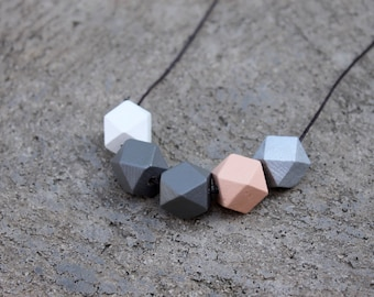 Geometric Wood Necklace // Hand Painted Wooden Faceted // Hedron Necklace - Peach and Gray // Wood Bead Necklace