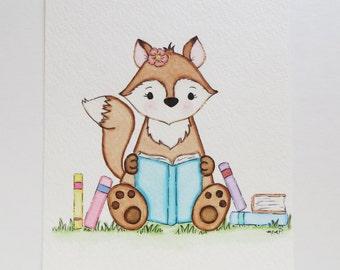 Little Reader, nursery art, watercolor painting, clever fox, original painting, children's wall decor, nursery fox, little girl art
