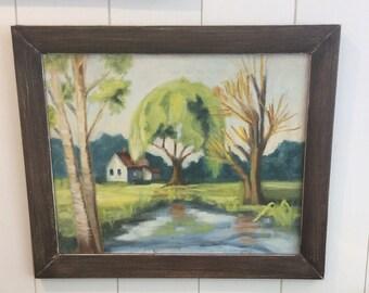 Vintage Framed Original Landscape Painting