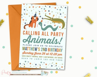 Party Animals Birthday Invitation, Party Animals Invitation, Party Animal Invitation, Animal Birthday Invitation, Animal Parade Invitation