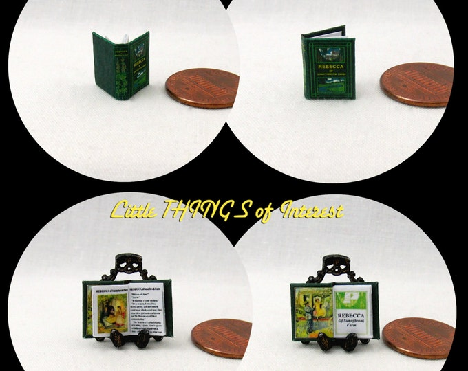 1/24 Scale Book REBECCA Of SUNNYBROOK FARM Miniature Book Dollhouse Illustrated Book Half Inch Scale 1:24 Scale Book