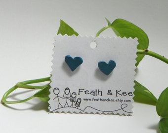 Neat Teal Hearts!  Handmade Wooden Studs One of a Kind Earrings