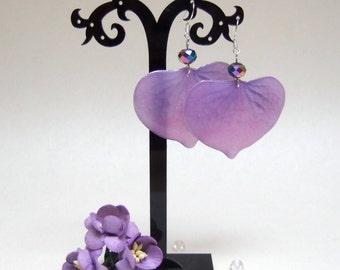 Resin Earrings Purple Boho Earrings Folk Dangle Earrings Flower Petals Earrings Epoxy Resin Jewelry Nature Earrings Violet Earrings Boho