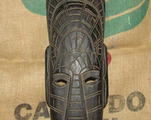 Vintage hand carved African mask, vintage mask from Africa circa 1970's, beautiful African decor, 1970's vintage decor, tribal mask