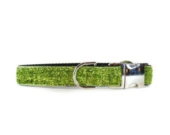 Green Shimmer Collar - Green Apple Glitter-like Sparkle Dog Collar