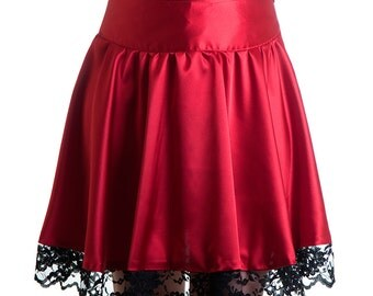 Last One! Victoria Skirt classy satin red with black lace round goth romantic dark victorian - Limited Edition