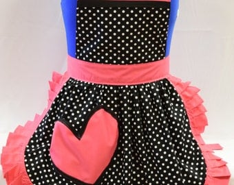 Retro Vintage 50s Style Full Apron / Pinny - Black & White Polka Dot with Pink Trim and Heart Shaped Pocket