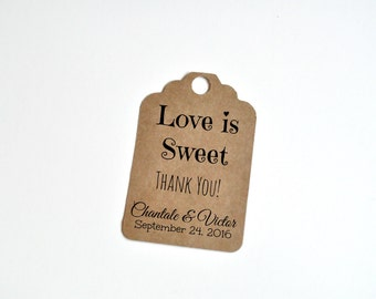 Love is sweet wedding favour tag, wedding tag, wedding favor tag, custom wedding favor tag, wedding favour tag with names and date, wedding