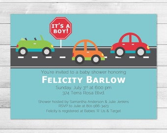Car Baby Shower Invitation, Transportation