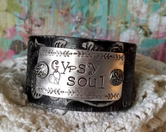 GYPSY SOUL> Hand Stamped/ Leather Cuff Bracelet/ Distressed Black Leather/ Gypsy Cowgirl/ Boho/ Rustic/ Free Spirit/ Bohemian/ Hippie/ Love