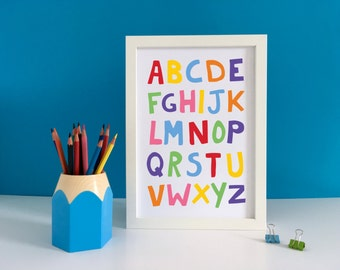 Nursery Alphabet Poster, Alphabet Print, ABC Wall Art, Kids Alphabet Art, Alphabet Wall Art, Alphabet Nursery, ABC Print, Playroom Art Print