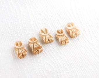 Antique Hand Carved Bone Owl Beads